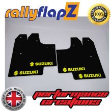 SWIFT 2ND GEN (2008-2010) BLACK MUDFLAPS (Logo Yellow)
